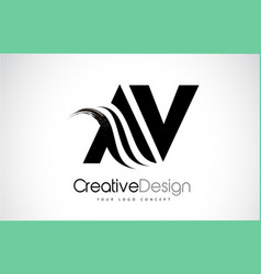 Av a v creative brush black letters design with vector