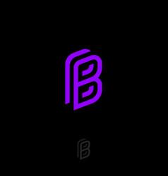 b violet monogram letter linear logo vector image