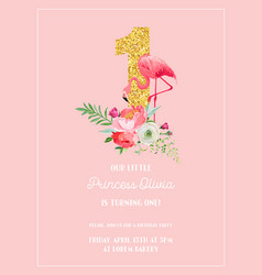 babirthday invitation card with flamingo vector image
