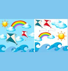 Background scene with kites in the sky vector
