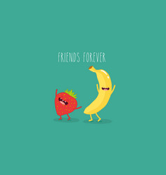 banana and strawberry vector image