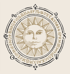 Banner with hand drawn sun and esoteric symbols vector