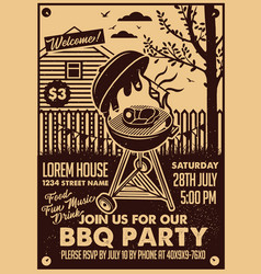 Bbq party craft paper postertypography poster vector