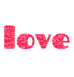 big pink word love isolated on white background vector image