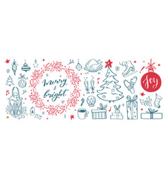 big set of christmas design doodle elements with vector image