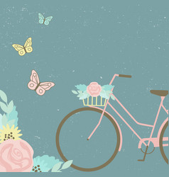 bike with floral bouquet and butterflies vector image