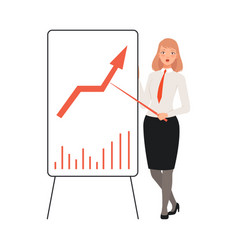 bisnesswoman presents statistics using pointing vector image