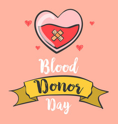 Blood donor day hand draw collection doodles vector