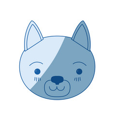 blue color shading silhouette cute face of cat vector image