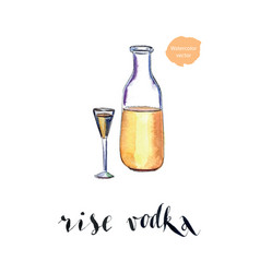 Bottle of rise vodka with wineglass vector