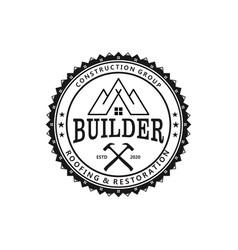 Builder real estate logo roofing restoration vector
