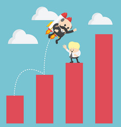 businessman jump flying growth chart to success vector image
