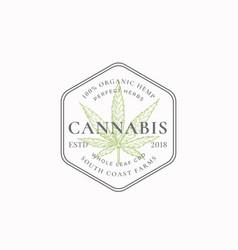 cannabis frame badge or logo template hand drawn vector image