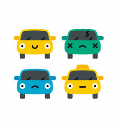car emoji car face character smiles colors icons vector image