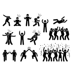 Celebration poses and gestures artwork depicts vector