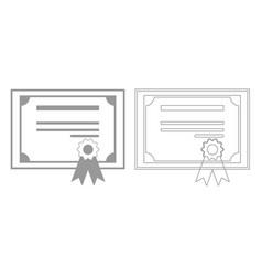 Certificate grey set icon vector