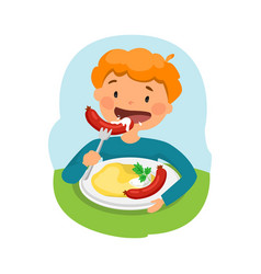 Child eating healthy food vector
