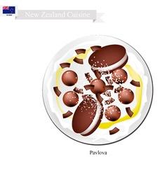 Chocolate pavlova meringue cake new zealand vector