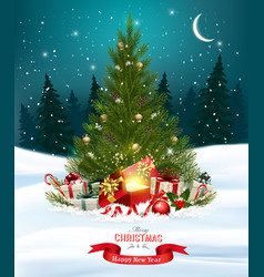 christmas holiday background with colorful gift vector image