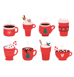 christmas holiday coffee mug cocoa with vector image
