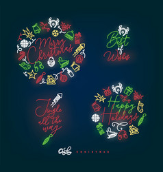 christmas pen line monograms color vector image
