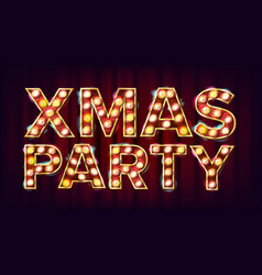 christmas retro party sign realistic retro vector image