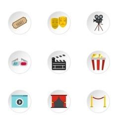 Cinema icons set flat style vector