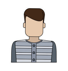 Color graphic faceless man prisoner with uniform vector