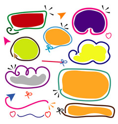 colorful hand drawn line frame border set vector image