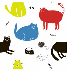 Colorful seamless pattern with cats vector