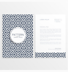 corporate letterhead template with pattern shape vector image
