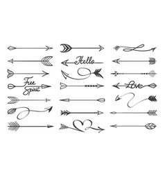 Curved arrows sketch vector