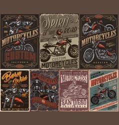Custom motorcycle vintage colorful posters vector