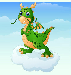 Cute cartoon green dragon posing on the cloud vector