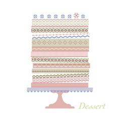 Decorative wedding cake in folk ornament style vector