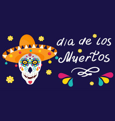 Dia de los muertos label is isolated on a dark vector