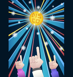 Disco night party hands vector