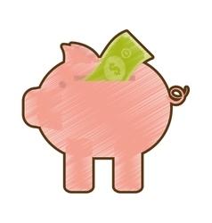 drawing piggy money bill dollar vector image