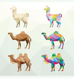 Farm animal with polygonal geometric style vector