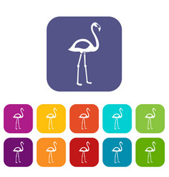 Flamingo icons set flat vector