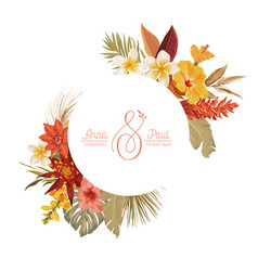 floral wreath with watercolor dry tropical flowers vector image