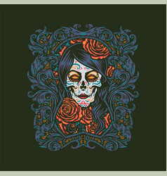 girl sugar skull vector image
