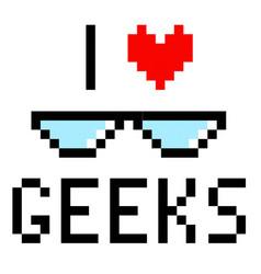 glasses geek pixel art cartoon retro game style vector image