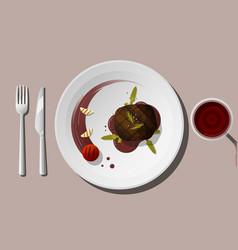 Grilled beef tenderloin steak with red wine vector