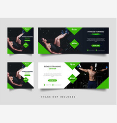 Gym and fitness social media and banner promotion vector