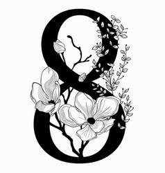 Hand drawn floral number eight monogram and vector