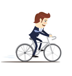happy businessman wearing suit riding bicycle vector image