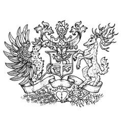 heraldic emblem with fairy bird and deer vector image