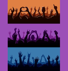 Human fan hands silhouette on music concert vector