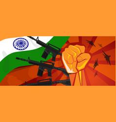 India war propaganda hand fist strike with arm vector